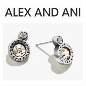 Alex and Ani Rose Crystal Patina Stone Studs